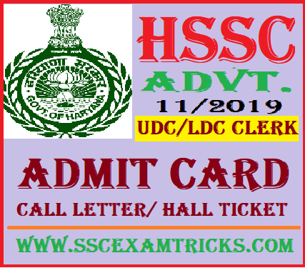 HSSC UDC LDC Admit Card