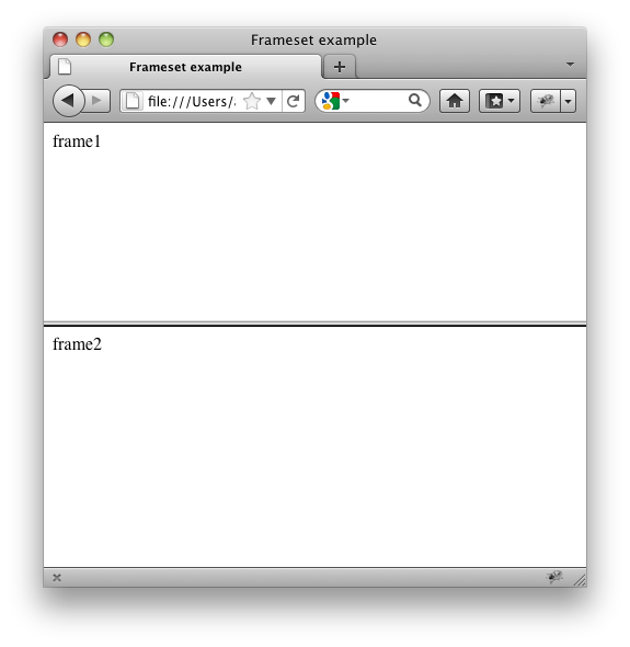 screenshot of a frameset rendered in firefox