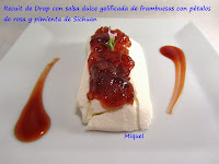 Recuit de Drap con salsa dulce gelificada de frambuesas