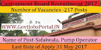 Cantonment Board Delhi Recruitment 2017– 217 Safaiwala, Pump Operator
