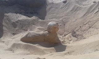 small royal statue of a sphinx was uncovered in Tuna El-Gebel.