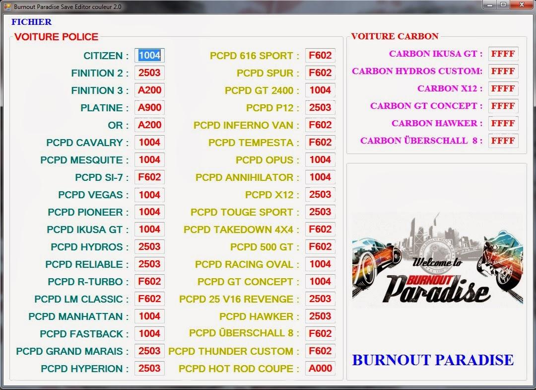Burnout paradise Save Editor