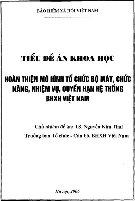 Hoàn thiện mô hình tổ chức bộ máy, chức năng, nhiệm vu, quyền hạn hệ thống bảo hiểm xã hội Việt Nam