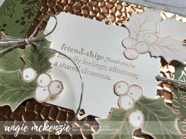 By Angie McKenzie for JOSTTT011 Design Team Inspirations; Click READ or VISIT to go to my blog for details! Featuring the Christmas Gleaming and Praiseworthy Prose Stamp Sets and the Peaceful Bough Dies; #handmadecards #wintercards #holly #copper #brightlygleamingdsp #christmasmasgleamingstampset #praiseworthyprosestampset #peacefulboughdies #josttt011 #cardtechniques