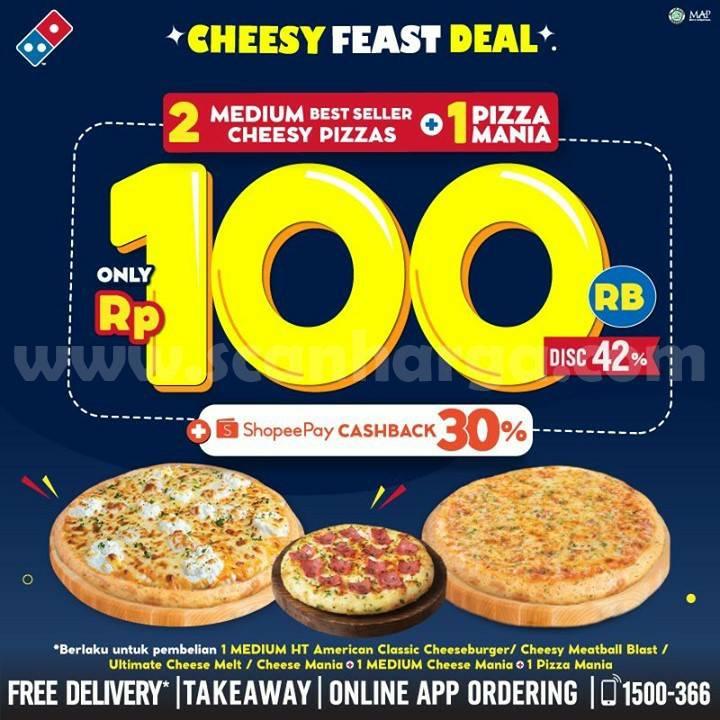 Domino's Pizza Cheesy Feast Deal Promo – 3 Best Seller hanya Rp 100.000