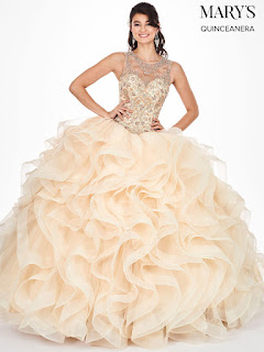 Mary's High Neckline Ball Gown Champagne Color dress