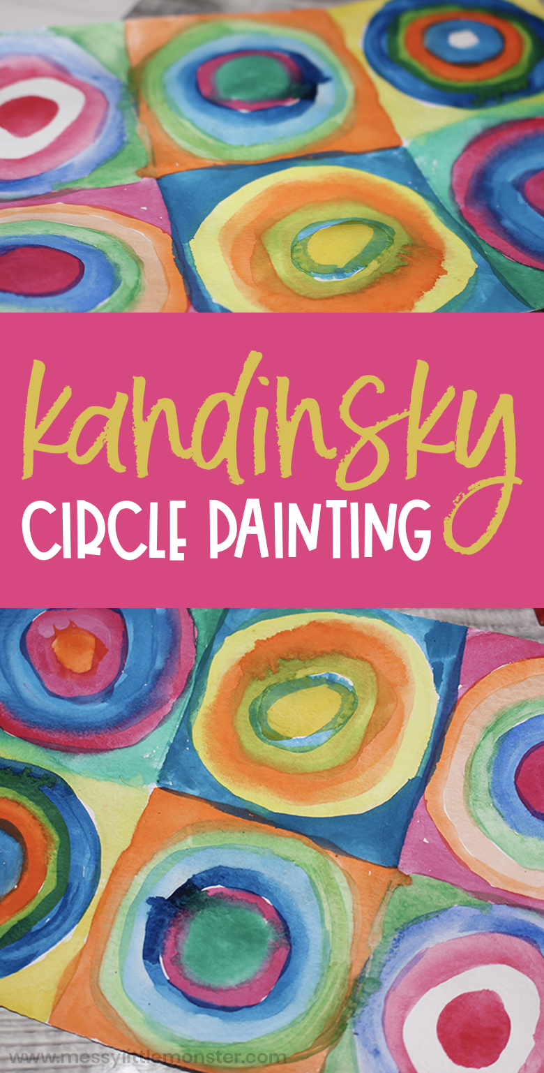Kandinsky circles painting for kids. Famous artists art project.