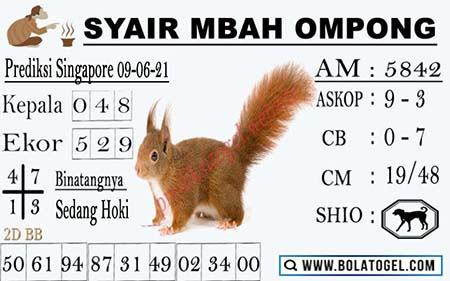 Syair Mbah Ompong SGP Rabu 09 Juni 2021