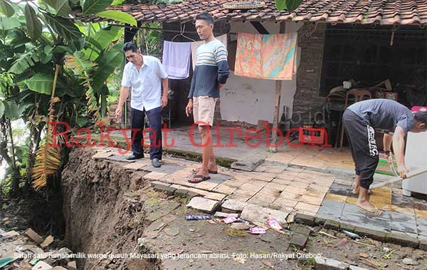 rumah warga ligung lor majalengka terancam abrasi sungai