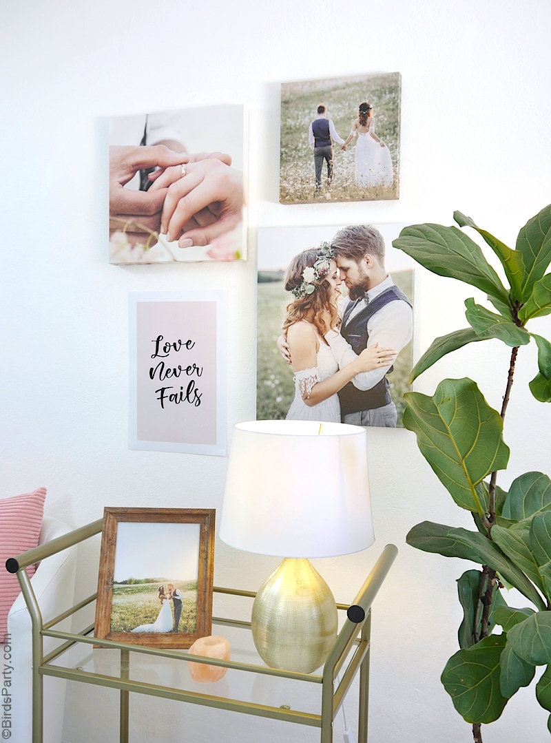 DIY Wedding Wall Gallery with FREE Printable Poster - instructions on how to easily create a wedding gallery wall wt home! | #WalmartPhoto #sponored content created by @BirdsParty for @wm_photo_center #wedding #gallerywall #diy #weddingcrafts #weddingdiy #diyweddingphotos #weddingphotos #weddingcanvas #weddingart #weddingdeco