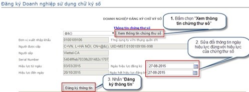 Hình 5 - Thông tin chữ ký số viettel hcm đã đăng ký trên trang Hải quan điện tử