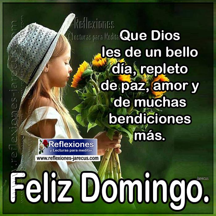 Feliz domingo, que dios les de un bello día, repleto de paz, amor y de muchas bendiciones más.