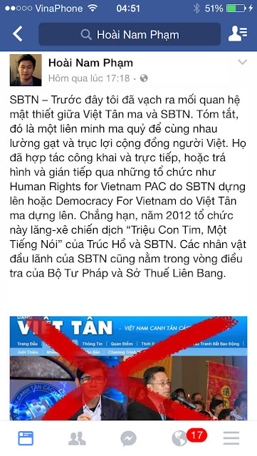 Đưa tin về Việt tân bị đồng bọn chụp mũ là dư luận viên