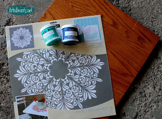 Deco art chalky finish paint and old shelf used to make a medallion print wall art diy blogger boho chic