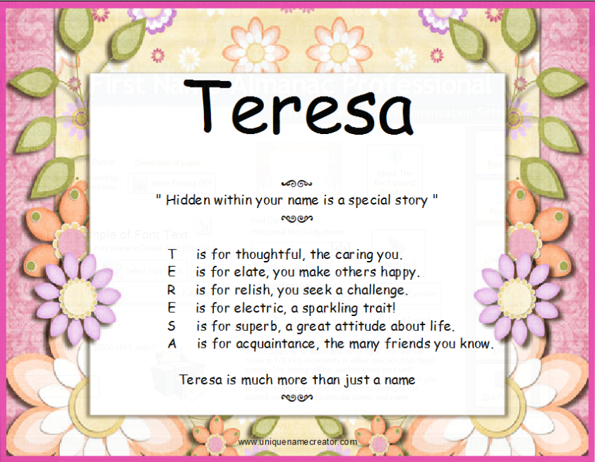 Teresa | Unique Name Creator