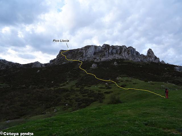 Camino marcado de subida al Pico Llucia.