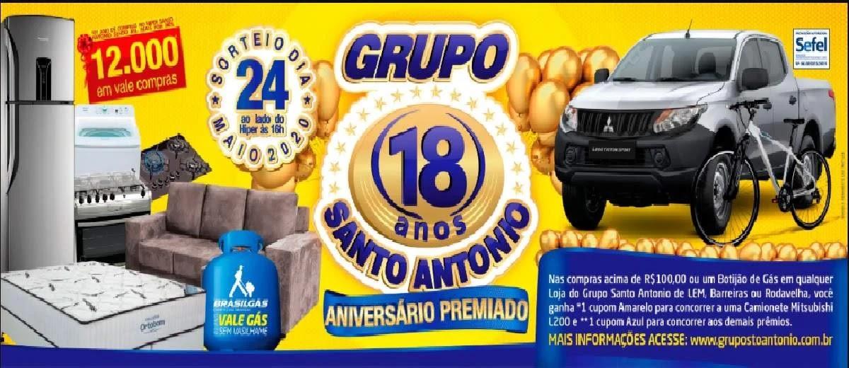 Promoção Grupo Santo Antonio 2020 Aniversário 18 Anos - Supermercados e Gás