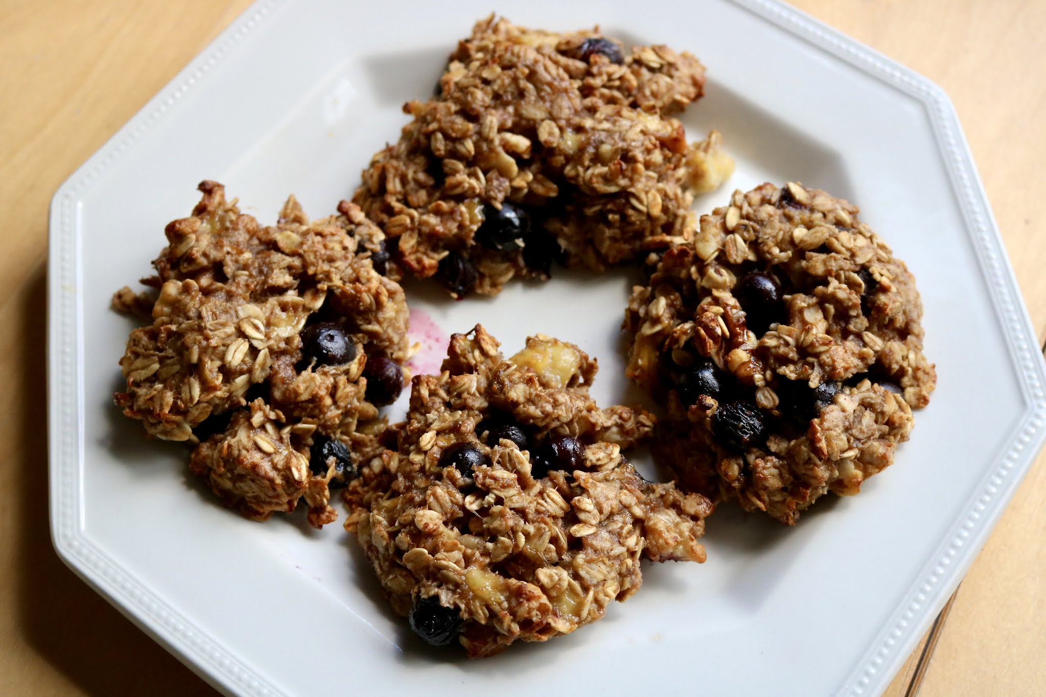 Blueberry Energy Cookies on plate