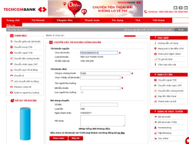 Chuyen tien qua E-banking vao tai khoan chung khoan techcombank