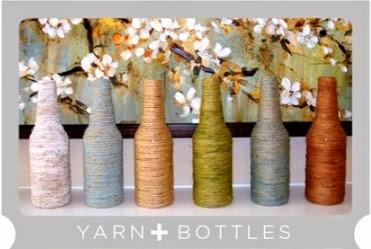 Kerajinan Tangan Dari Botol Bekas dan Benang - Hiasan Meja
