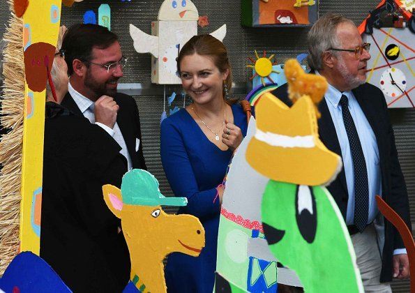 "Hereditary Grand Duke Guillaume and Hereditary Grand Duchess Stéphanie of Luxembourg visited the ""Meeting of Animals on World"" exhibition"