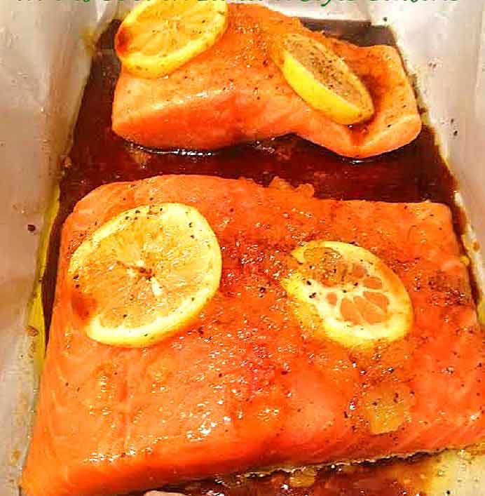 this is salmon sauteed on the stovetop with teriyaki sauce on it