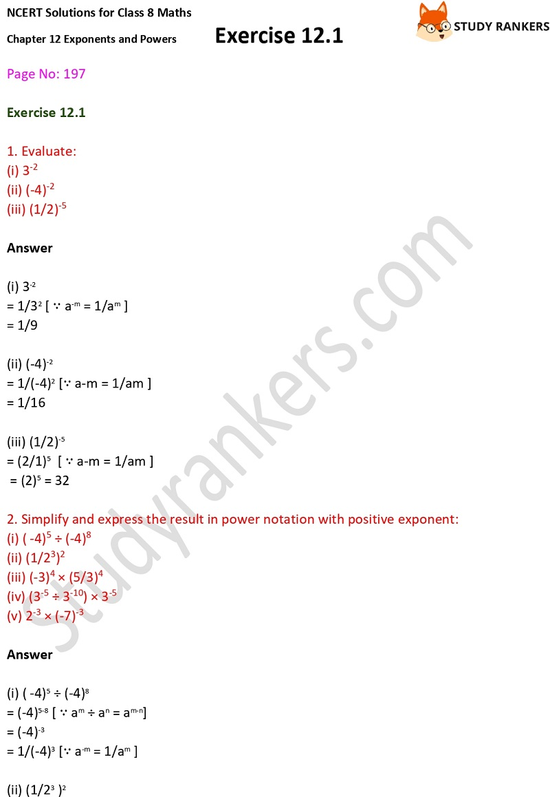 NCERT Solutions for Class 8 Maths Ch 12 Exponents and Powers Exercise 12.1 1