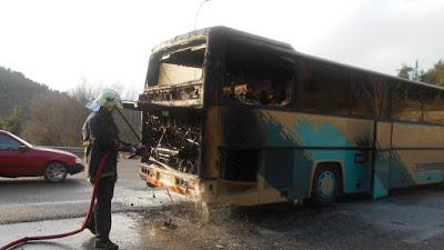 Φωτιά σε λεωφορείο στην Εγνατία Οδό