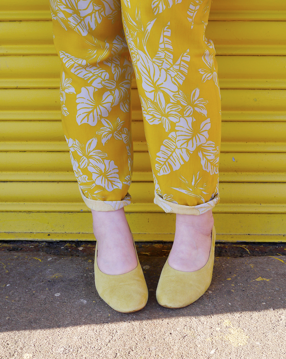 Helen from Wardrobe Conversations wears yellow Office shoes and tropical charity shop trousers