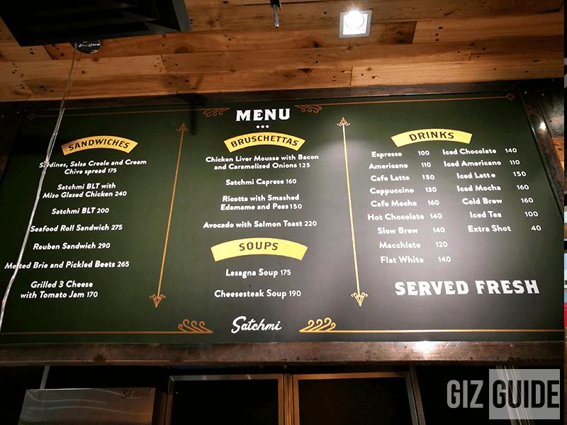 Satchmi's menu
