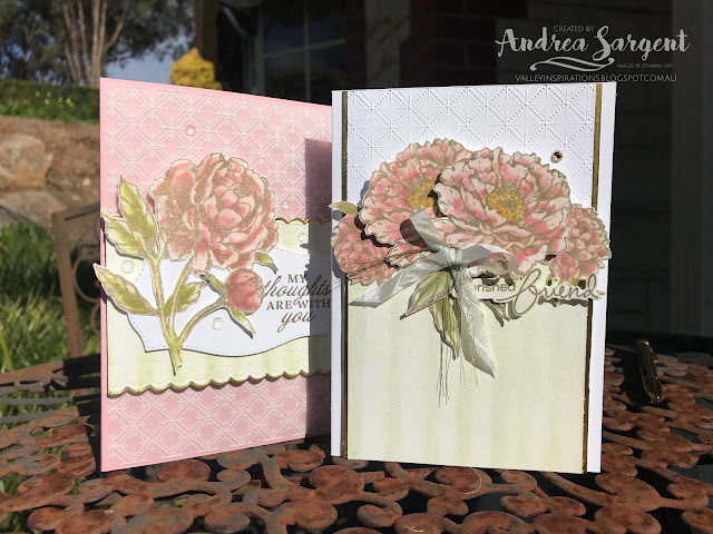 Andrea Sargent, Stampin' Up!, Art With Heart, Blog Hop, Prized Peony, Blushing Bride, Dainty Diamonds Embossing, Water-colour