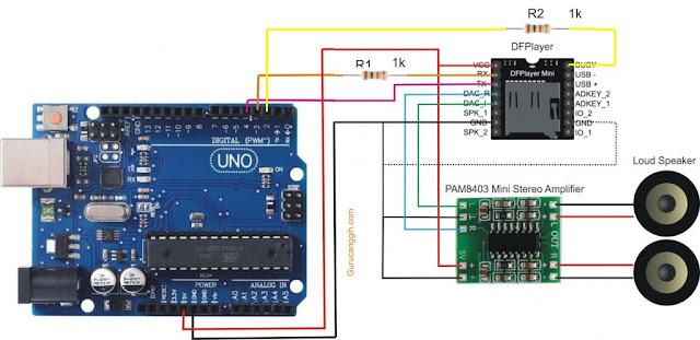 Rangkaian Skematik DFPlayer Mini Arduino Uno