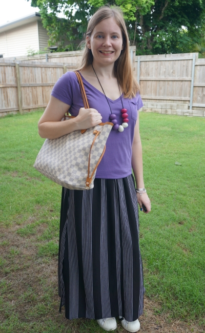 vertical stripe maxi skirt with purple tee Adidas superstar, Louis vuitton neverfull | away from blue