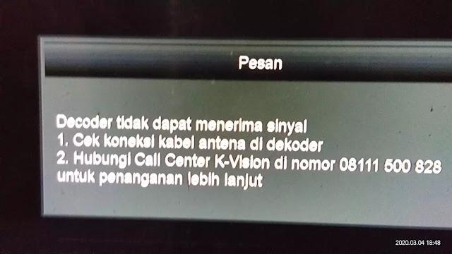 decoder K Vision tidak dapat menerima sinyal