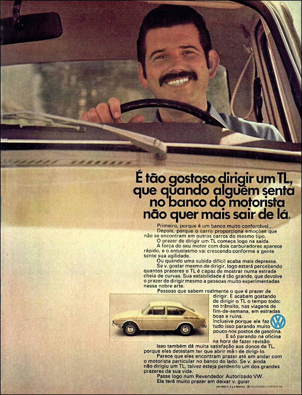 Anúncio antigo da Volkswagen promovendo o modelo TL em 1972
