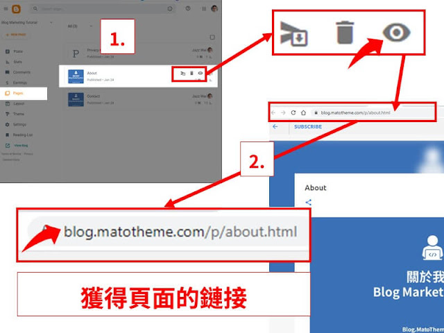 how to get blogger pages url