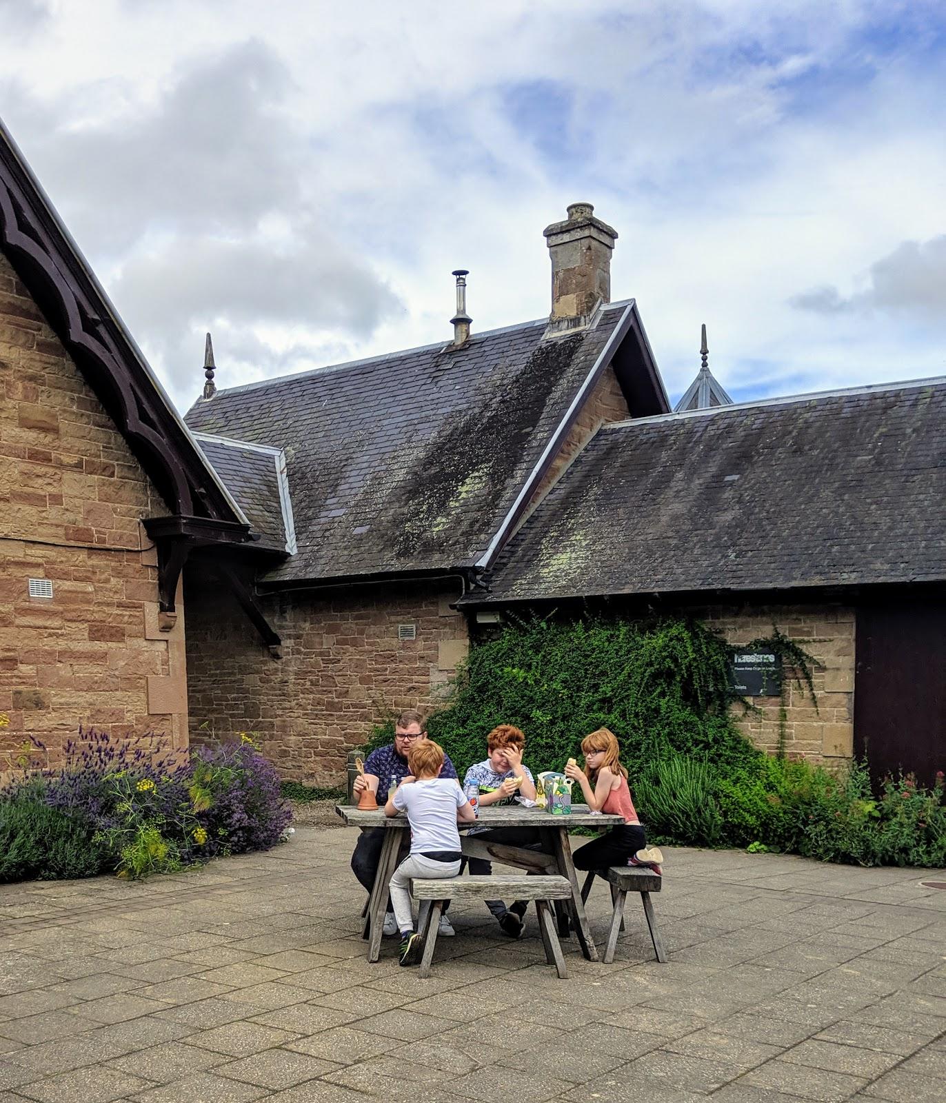 Harestanes Park, Jedburgh  - cafe courtyard