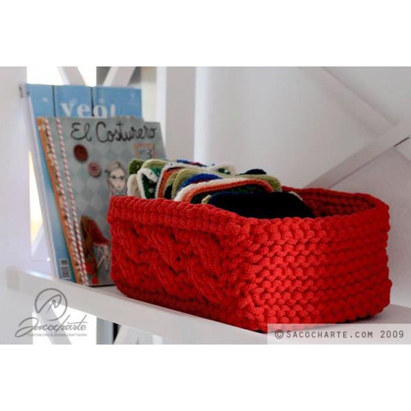 Kit para hacer una cesta rectangular de trapillo tutorial - Como hacer un puff de trapillo ...