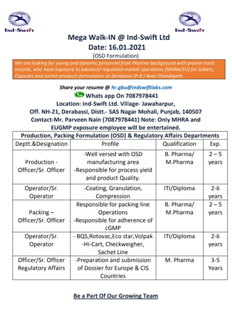 Ind-swift Labs | Walk-in for Production / Packing / Regulatory Affairs on 16th Jan 2021