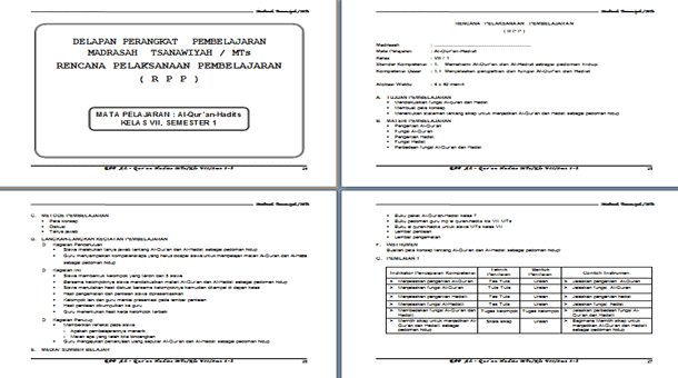 Perangkat Pembelajaran Al-Qur'an Hadits MTs Berkarakter Kelas 7 8 9