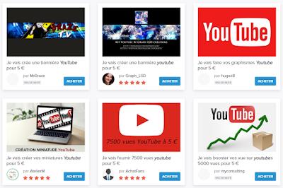Gagner de l'argent en vendant des services aux YouTubers sur 5euros.com