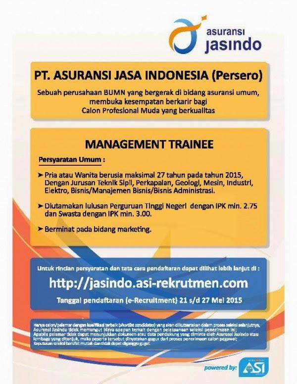 ... PT Asuransi Jasa Indonesia (Persero) Mei 2015 | Lowongan Kerja Terbaru