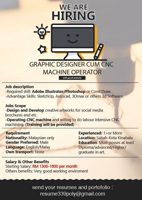 Kerja Kosong Sabah 2020 | GRAPHIC DESIGNER CUM CNC MACHINE OPERATOR