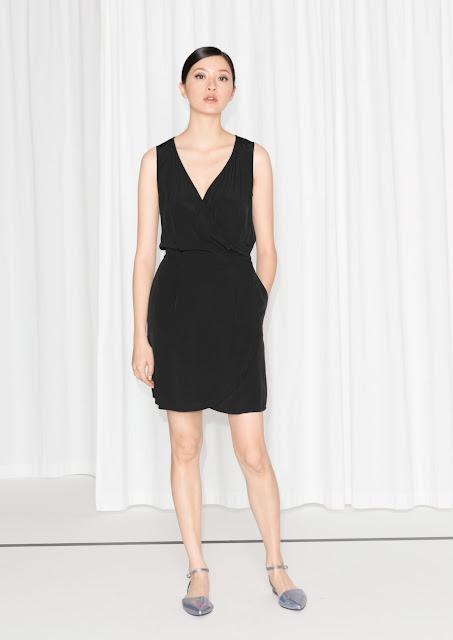 black v neck shift dress, black pocket dress, black wrap dress,
