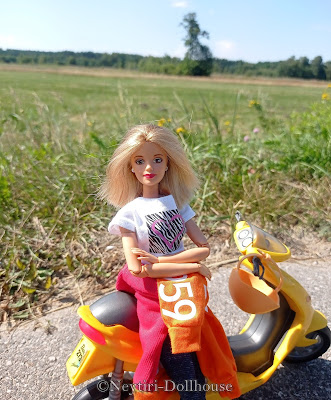 Mattel Barbie doll NASCAR 50th Anniversary MtM Made To Move body scooter