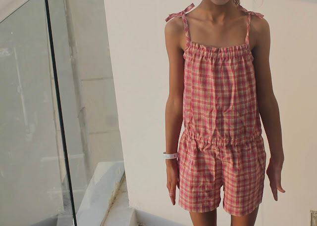 Purl Soho Summer Romper in pink plaid shirting.