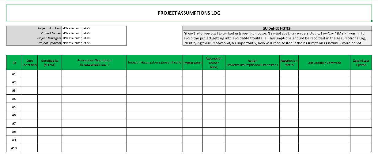 Project Assumptions Log  Project Log Template