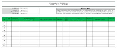 Project Assumptions Log