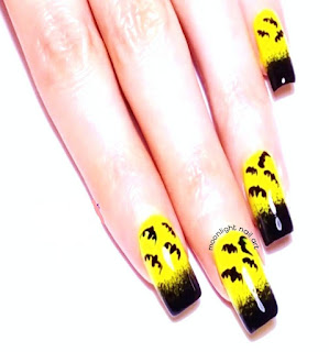 HALLOWEEN Nails: Ombre Bat Design on Yellow and Black