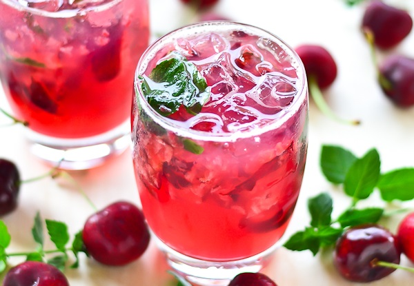Cherry & Champagne Mojitos